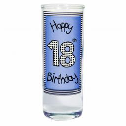 Blue 18th Happy Birthday Shot Glass