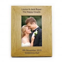 Personalised 6x4 Any Message Wooden Photo Frame Portrait