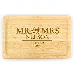 Personalised Wooden Engraved Mr & Mrs Rectangular Chopping Board