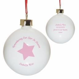 Personalised Remembering Our Star In Heaven Christmas Tree Bauble Pink