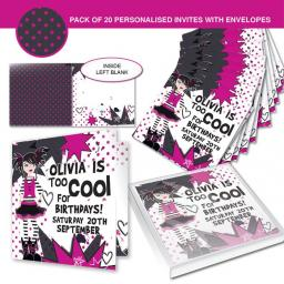 Personalised Too Cool Girl Invitations
