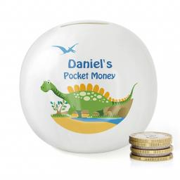 Personalised Bone China Dinosaur Money Box