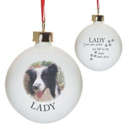 Personalised Pet Memorial Pawprints Photo Bauble