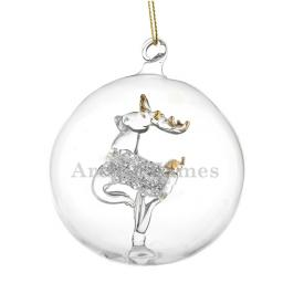 Personalised Christmas Tree Bauble Glass Reindeer Add Name