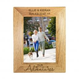 Personalised 5x7 Our Adventures Wooden Frame