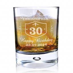 Personalised Classic Whisky Style Bubble Glass Add Name Age Message