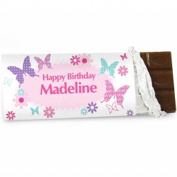 Personalised Pink Butterfly Milk Chocolate Bar 100g