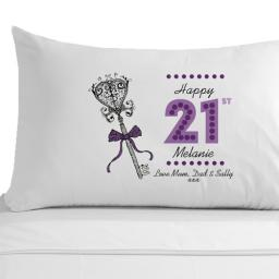 Personalised Female 21st Birthday Key Pillowcase