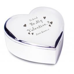 Personalised Heart Trinket Box Be My Valentine Hearts Motif