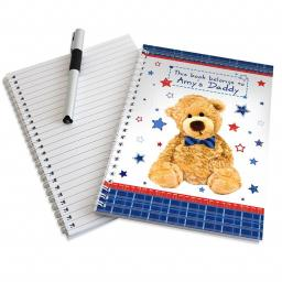 Personalised Teddy Bow Tie A5 Notebook