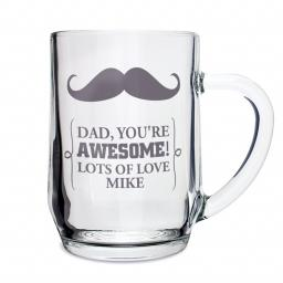 Personalised Moustache Glass Pint Tankard