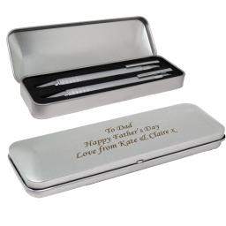 Pen and Pencil in Personalised Metal Box Set