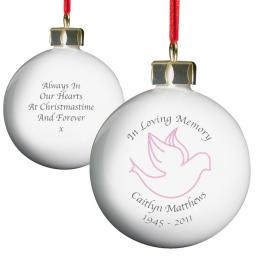 Personalised Christmas Tree Bauble In Loving Memory Pink Dove