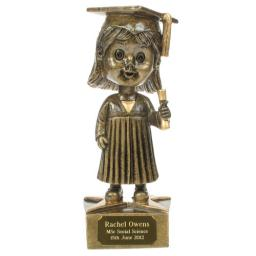 Graduation Female Bobblehead Statue with Personalised Engraved Plaque 15cm