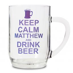 Personalised Keep Calm Drink Beer Glass Pint Tankard