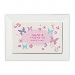 Personalised White Wooden Jewellery Box Butterfly