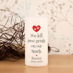 Personalised Paw Prints Pet Memorial Candle