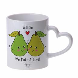 Personalised Great Pear Heart Handle Mug
