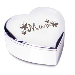Mum Heart Shaped Trinket Box Butterfly Motif