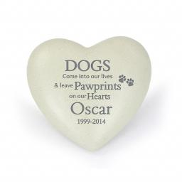 Personalised Dogs Pawprints Memorial Heart