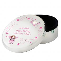 Personalised Fairy Round Trinket Box