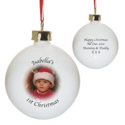Personalised Bone China Photo Bauble