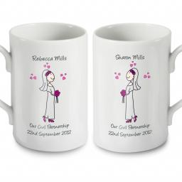 Personalised Cartoon Female Couple Civil Wedding Pair Mugs Set