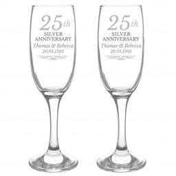 Personalised 25th Silver Anniversary Pair of Flutes