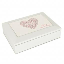 Personalised White Wooden Jewellery Box I Love You