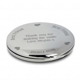 Personalised Best Friend Round Compact Mirror & Pouch Hearts Motif