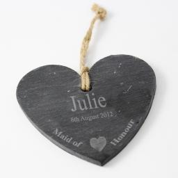 Personalised Engraved Maid of Honour Slate Hanging Heart