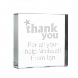 Personalised Thank You Glass Crystal Block Keepsake