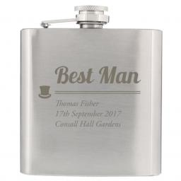Personalised Best Man Engraved Stainless Steel Hipflask Top Hat Motif