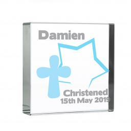Personalised Blue Star / Cross Glass Block