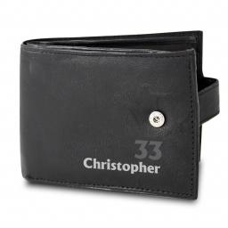 Personalised Age Name Black Leather Wallet