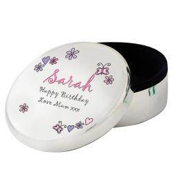 Personalised Floral and Butterfly Round Trinket Box