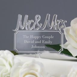 Personalised Mr & Mrs Plaque Acrylic Cake Topper