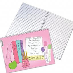 Personalised Teacher Theme A5 NoteBook Female Pink