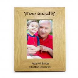 Personalised 6x4 Great Grandchild Wooden Photo Frame