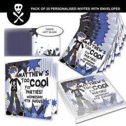 Personalised Too Cool Boy Invitations