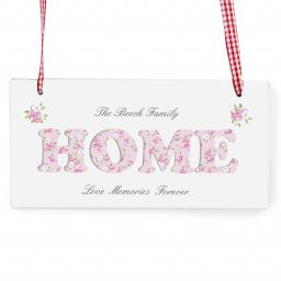Personalised Floral Design Home Rectangle Wooden Sign