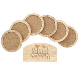 Personalised Set of 6 Wooden Coasters And Holder Bird