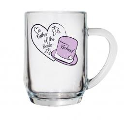 Personalised Heart & Top Hat Wedding Pint Glass Tankard Male Role
