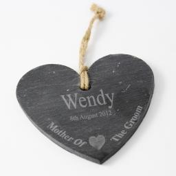 Personalised Engraved Mother of the Groom Slate Hanging Heart