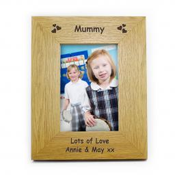 Personalised 6x4 Hearts Motif Wooden Photo Frame