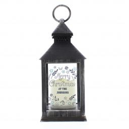 Personalised Rustic Black Lantern Christmas Frost