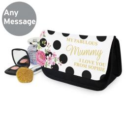 Personalised Ladies Floral Dot Make Up Cosmetic Bag Pouch