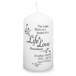 Personalised Candle This light shines as a symbol of a Life & Love Remembered