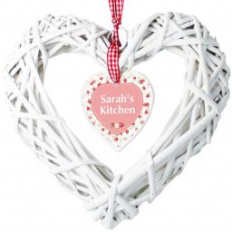Personalised Vintage Floral Wicker Heart Decoration