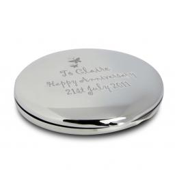 Personalised Round Compact Mirror & Pouch Butterfly Motif